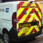 full chevron back with highways sign